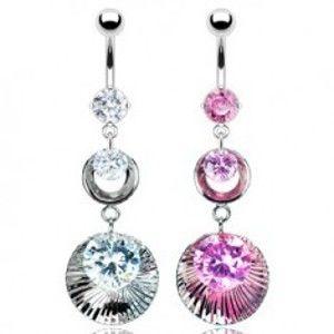 Šperky eshop - Piercing do pupku s dvojitou obručou vlnitou s troma zirkónmi C13.10 - Farba zirkónu: Ružová - P
