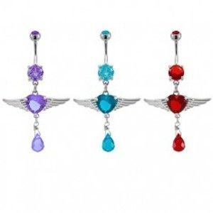 Šperky eshop - Piercing do pupku srdiečko s anjelskými krídlami E15.8 - Farba zirkónu: Tyrkysovo zelená