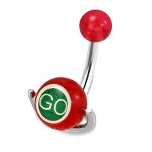 """Šperky eshop - Piercing do pupku z ocele - červená guľôčka, valček s nápismi """"GO"""" a """"STOP"""" S20.15"""