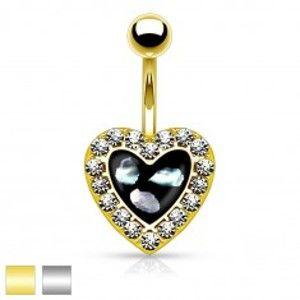 Šperky eshop - Piercing do pupku z ocele 316L, čierne srdiečko s kúskami perlete a čírymi zirkónikmi AB32.04 - Farba piercing: Strieborná