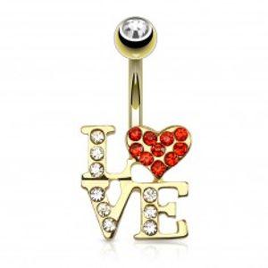 Šperky eshop - Piercing do pupku z ocele v zlatej farbe - nápis LOVE, srdiečko, zirkón v guľôčke R06.04