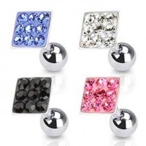 Šperky eshop - Piercing do tragusu z ocele 316L, štvorček vykladaný zirkónikmi, rôzne farby SP21.25 - Farba zirkónu: Číra - C