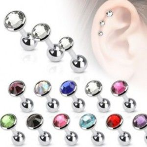 Šperky eshop - Piercing do ucha z ocele, okrúhla objímka s farebným zirkónom, 3 mm PC07.01/06 - Farba zirkónu: Dúhová - AB