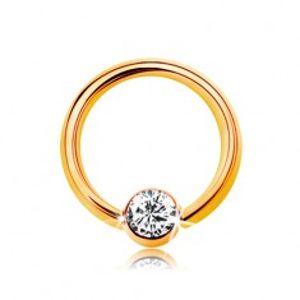 Šperky eshop - Piercing v žltom 9K zlate - malý krúžok s guličkou a čírym zirkónom, 6 mm GG182.46