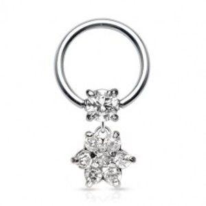 Šperky eshop - Piercing z chirurgickej ocele - krúžok so zirkónom a zirkónový kvet C5.10