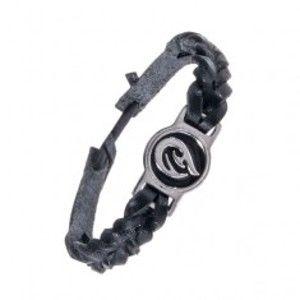 Šperky eshop - Pletený čierny náramok - kožený, tribal ornament AC3.06