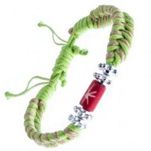 Šperky eshop - Pletený náramok - béžovo-zelený, kvietky a korálka s hviezdou Y52.03