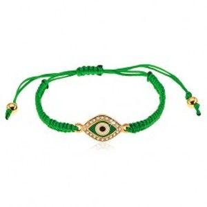 Šperky eshop - Pletený náramok tmavozelenej farby, symbol oka zdobený čírymi zirkónmi Z24.17