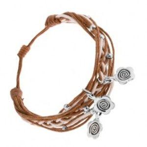 Šperky eshop - Pletený náramok zo šnúrok, nastaviteľná dĺžka, prívesky - kvety, špirála SP83.03