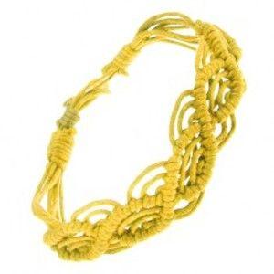 Šperky eshop - Pletený náramok zo žltých motúzikov, vlnkový motív S14.24