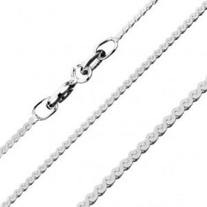 Šperky eshop - Plochá strieborná retiazka 925 - rad esovitých článkov, 1,1 mm AB4.02