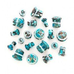 Šperky eshop - Plug do ucha - modrá achátová hubka AA7.04/AA7.05 - Hrúbka: 10 mm