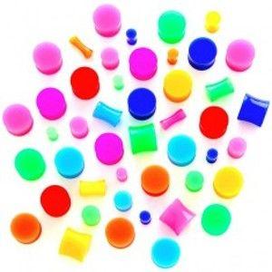 Šperky eshop - Plug do ucha - neónová sviečka N17.15 - Hrúbka: 5 mm, Farba piercing: Zelená