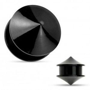 Šperky eshop - Plug do ucha, akryl čiernej farby, dva lesklé hladké kužele Z25.13 - Hrúbka: 16 mm