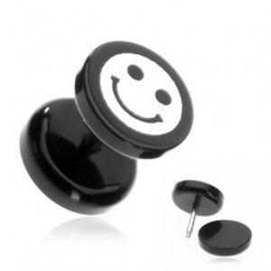 Šperky eshop - Plug do ucha z akrylu - smajlík na čiernom koliesku AA40.06