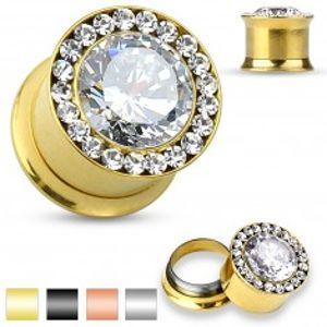 Šperky eshop - Plug do ucha z chirurgickej ocele - veľký číry zirkón, malé zirkóniky, 8 mm R03.15 - Farba piercing: Čierna