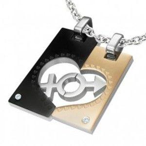 Šperky eshop - Prívesky z ocele pre dvojicu - obdĺžnik, srdce, znak ON a ONA R6.10