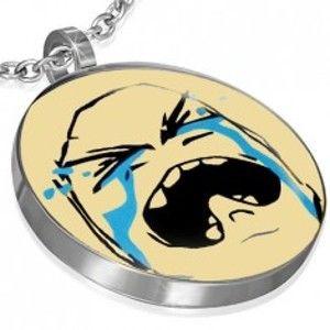 Šperky eshop - Prívesok MEME z ocele - CRYING BAWW FACE AA30.27
