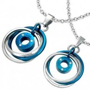 Šperky eshop - Prívesok pre dvoch - prepletené prstence, nápis, zirkóny AB31.10