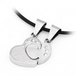 Šperky eshop - Prívesok pre dvoch - skladačka, srdcia so zirkónmi AA32.22