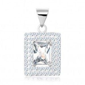 Šperky eshop - Prívesok, striebro 925, číry zirkónový obdĺžnik, dvojité lemovanie zo zirkónikov SP67.24