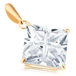 Šperky eshop - Prívesok v žltom 14K zlate - číry štvorcový zirkón s brúseným povrchom GG94.35