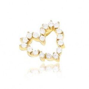 Šperky eshop - Prívesok v žltom 14K zlate - kontúra srdca zložená zo zirkónových lístkov GG13.13