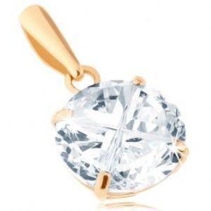 Šperky eshop - Prívesok v žltom 14K zlate - okrúhly zirkón čírej farby, brúsený povrch, 8 mm GG94.33