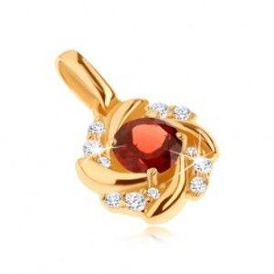 Šperky eshop - Prívesok v žltom 14K zlate - slnko, červený granát, zatočené lúče, zirkóny GG91.15