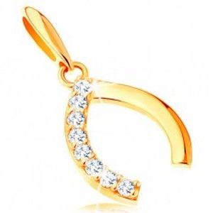 Šperky eshop - Prívesok v žltom 14K zlate - špicatá podkovička so zirkónovou polovicou GG121.14