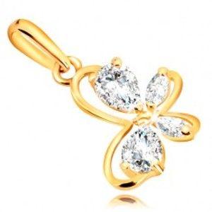 Šperky eshop - Prívesok v žltom 9K zlate - kontúra motýlika s čírymi trblietavými zirkónmi GG54.36