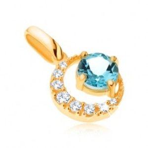 Šperky eshop - Prívesok v žltom 9K zlate, zirkónový kosák mesiaca, okrúhly modrý topás GG64.23