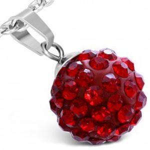 Šperky eshop - Prívesok z chirurgickej ocele - červená gulička, ligotavé kamienky, 12 mm SP41.18
