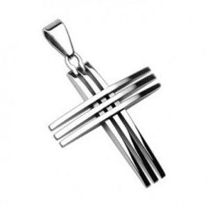 Šperky eshop - Prívesok z chirurgickej ocele - kríž z lesklých tenkých línií G2.11