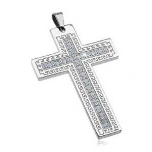 Šperky eshop - Prívesok z chirurgickej ocele - veľký kríž so zirkónmi a gréckym kľúčom G14.7