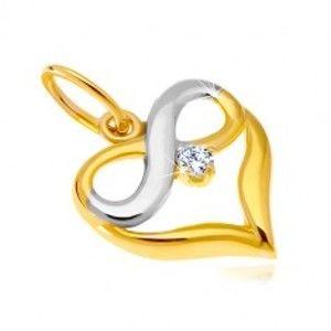 Šperky eshop - Prívesok z kombinovaného 14K zlata - kontúra srdca, symbol nekonečna, zirkón GG37.21