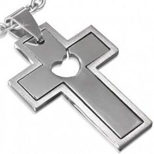 Šperky eshop - Prívesok z ocele - dvojdielny kríž s vyrezaným srdcom AC11.30