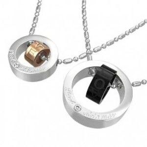 Šperky eshop - Prívesok z ocele dvojité kruhy lásky G22.24