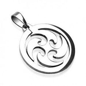 Šperky eshop - Prívesok z ocele kruh krútiaci vietor AC05.10