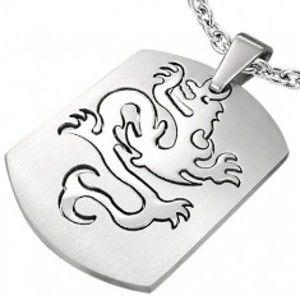 Šperky eshop - Prívesok z ocele známka - Dragon W23.09