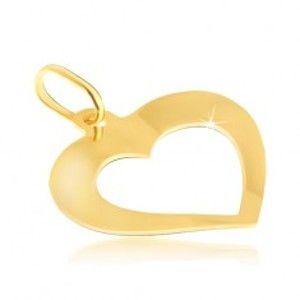 Šperky eshop - Prívesok zo 14K zlata - zrkadlovolesklé mierne zahnuté srdiečko s výrezom GG04.20