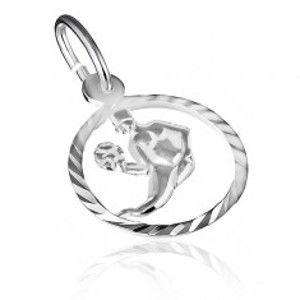 """Šperky eshop - Prívesok zo striebra 925 - lesklý kruh a znamenie """"panna"""" X10.19"""
