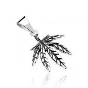 Šperky eshop - Prívesok zo striebra 925 - marihuanový list, jemne patinovaný V8.13