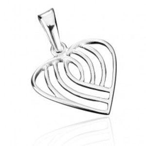 Šperky eshop - Prívesok zo striebra 925 - pruhované srdce AB5.19
