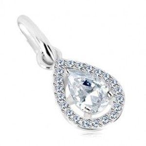Šperky eshop - Prívesok zo striebra 925 - trblietavá kvapka so zirkónovou kontúrou S34.24