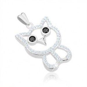 Šperky eshop - Prívesok zo striebra 925, kontúra sovy, číre zirkóny, čierne oči, zobák SP61.27