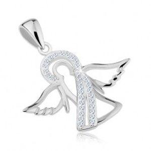 Šperky eshop - Prívesok zo striebra 925, lesklá kontúra anjela, číre zirkónové línie S60.03
