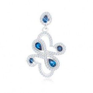 Šperky eshop - Prívesok zo striebra 925, tmavomodré zirkóny - kruhy, slzy, ornament SP90.25