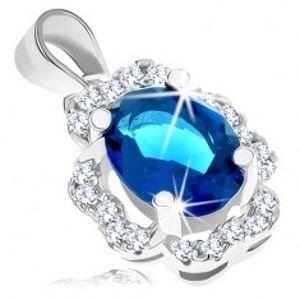 Šperky eshop - Prívesok zo striebra 925, zirkónový ovál v tmavomodrej farbe, číra obruba V04.04