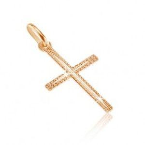 Šperky eshop - Prívesok zo zlata 14K - tenký štruktúrovaný kríž so zárezom v strede GG07.12